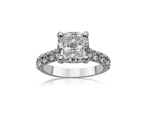 Alson Signature Collection 18K White Gold Diamond Shared Prong Engagement Ring