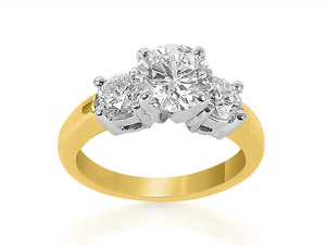 Alson Signature Collection, this 18K Yellow Gold and Platinum Diamond Engagement Ring Features One Round Center Stone =1.01 Carats, Accented by Two Round Diamonds =.50cts Total Weight, VS2 Clarity, H Color