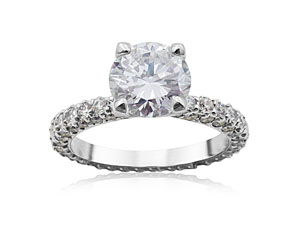 Alson Signature Collection Engagement Ring, Fashioned in Platinum, Featuring a 1.29 Carat Round Diamond, J Color, SI1 Clarity, Accented with 117 Round Diamonds =1.52cts Total Weight