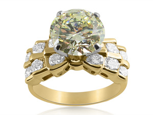 Alson Signature Collection 14K Yellow Gold Engagement Ring, Featuring a 2.74 Carat Round Diamond, VS1 Clarity, N Color, GIA Certified, Accented with Twelve Round Diamonds =.60cts Total Weight