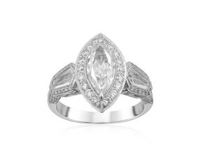 J.B. Star Engagement Ring, Fashioned in Platinum, Featuring a .77 Carat Marquise Diamond, VVS1 Clarity, F Color, GIA Certified, Accented with Two Kite Diamonds =.66cts Total Weight and Ninety-Eight Round Diamonds =.45cts Total Weight