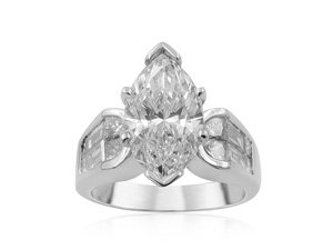 From The Alson Signature Collection, an Engagement Ring, Fashioned in Platinum, Featuring a 2.08 Carat Marquise Diamond, F Color, VS2 Clarity, GIA Certified, Accented with 4 Princess Cut Diamonds=.60 Carats and 4 Tapered Baguette Diamonds=.58 Carats.