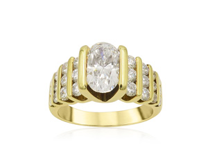 Alson Signature Collection Engagement Ring, Fashioned in 14K Yellow Gold, Featuring a 1.22 Carat Oval Diamond, VS2 Clarity, I Color, Accented with Twenty-Four Round Diamonds=1.00 Carat Total Weight