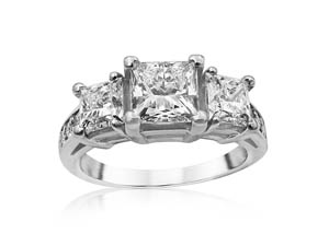 Alson Signature Collection Three Stone Engagement Ring, Fashioned in Platinum, Featuring a 1.23 Carat Princess Cut Diamond, G Color, VVS2 Clarity, Accented with Two Princess Cut Diamonds =1.21cts Total Weight, F Color, VS2 Clarity and Eight Round Diamonds =.12cts Total Weight, All Princess Cut Diamonds are GIA Certified