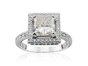 Alson Signature Collection Frame Style Engagement Ring, Fashioned in Platinum, Featuring a 1.70 Carat Princess Cut Diamond, G Color, SI2 Clarity, GIA Certified,  Accented with 115 Round Diamonds =.80cts Total Weight