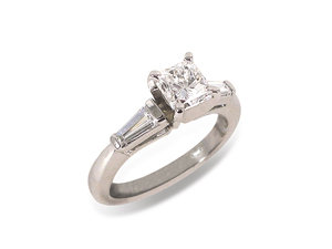 Alson Signature Collection Engagement Ring, Fashioned in Platinum, Featuring a .81 Carat Radiant Cut Diamond, SI1 Clarity, H Color, Accented with Two Tapered Baguette Diamonds =.30cts Total Weight