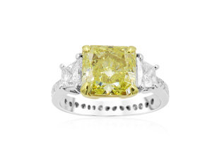 Alson Signature Collection Platinum & 18K Yellow Gold Fancy Yellow Diamond Ring