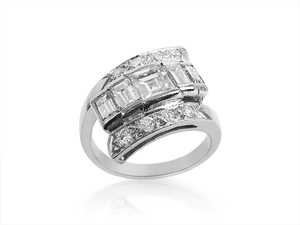 Alson Estate Collection, this Platinum and Diamond Ring Features One Square Cut Diamond =.50 Carats, Two Baguette Diamonds =.50cts Total Weight, and Eight Round Diamonds =.25cts Total Weight