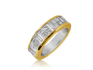 Alson Estate Collection Invisible Set Eternity Band, Fashioned in 14K Yellow Gold, Featuring Forty Princess Cut Diamonds and Ten Baguette Diamonds =5.00cts Total Weight