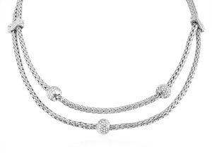 Alson Special Value John Hardy Silver & 18K White Gold Necklace, Featuring Three Diamond Ball Stations
