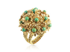 Alson Special Value 14K Yellow Gold Turquoise Flower Ring