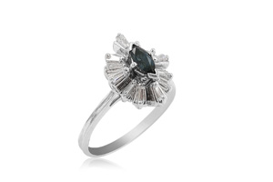 Alson Special Value 14K White Gold Ring, Featuring a 6X4MM Marquise Blue Sapphire, Accented with 12 Tapered Baguette Diamonds =.40cts Total Weight