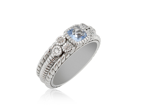 Alson Special Value Judith Ripka Silver Multi-Stone Ring, Featuring a Blue Crystal and White Sapphires