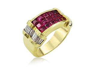 Alson Estate Collection 18K Yellow Gold Ruby & Diamond Band