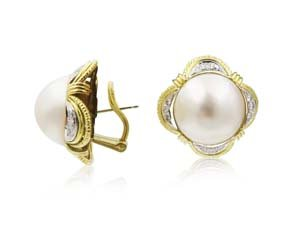 Alson Estate Collection 18K Yellow Gold 16MM Mabe Pearl & Diamond Earrings