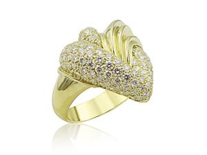 Alson Estate Collection 18K Yellow Gold Henry Dunay Pave Diamond Ring