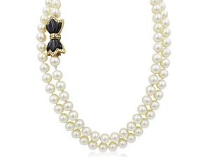"""Alson Estate Collection 36"""" 7-7.5MM Pearl Strand With Black Onyx & Diamond Clasp"""