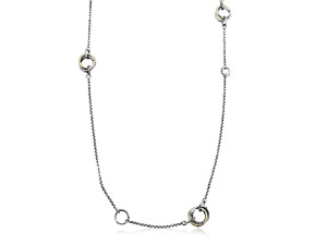 """Alson Special Value John Hardy Silver & 18K Yellow Gold 36"""" Bamboo Necklace"""