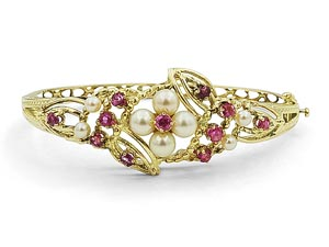 Alson Estate Collection 14K Yellow Gold Ruby & Pearl Hinged Bangle Bracelet