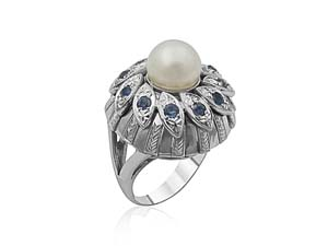 Alson Estate Collection 14K White Gold Pearl & Blue Sapphire Ring