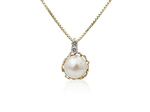 """Alson Special Value 14K Yellow Gold 18"""" Mabe Pearl & Diamond Pendant Necklace"""