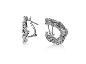 Alson Estate Collection 18K White Gold Diamond Wavy Curve Earrings