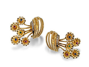 Alson Estate Collection 18K Yellow Gold Flower Earrings, Featuring Rubies, Sapphires and Emeralds