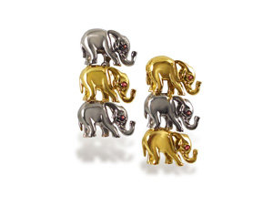 Alson Estate Collection 18K Yellow and White Gold Earrings, Each having Three Elephants, Each Set with Three Round Rubies