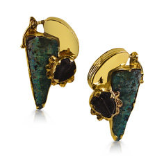 Alson Estate Collection Barnaby Freeform Earrings, Fashioned in 18K Yellow Gold, Featuring Unpolished Opals