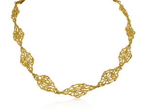 Alson Estate Collection 18K Yellow Gold Open Nugget Link Necklace