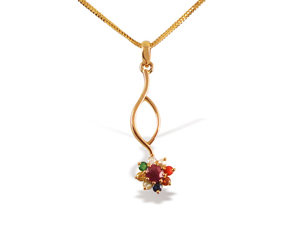 Alson Special Value 22K Yellow Gold Necklace, Features a Nine Assorted Geniune Stones