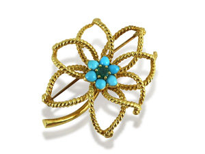 Alson Estate Collection Flower Pin, Fashioned in 18K Yellow Gold, Featuring Round Turquoise Gemstones