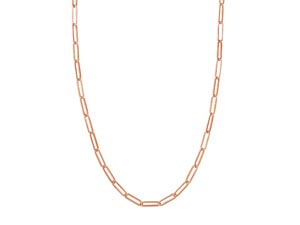 """Alson Signature Collection 14K Rose Gold 18"""" 5MM Paperclip Link Necklace"""