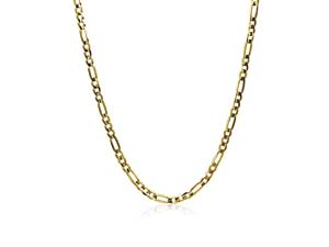 """Alson Signature Collection 14K Yellow Gold 24"""" 4MM Concave Figaro Chain Necklace"""