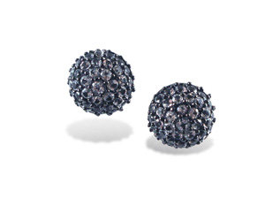 Alson Special Value M.C.L. Design Medium Pave Half Ball Stud Earrings, Fashioned in Blackened Sterling Silver, Featuring Round White Zircon =5.45cts Total Weight