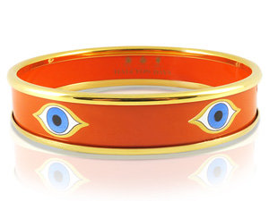Halcyon Days 13.5MM 18K Yellow Gold Plated with Orange Enamel Evil Eye Bangle Bracelet