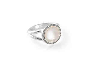 Ippolita Silver Stella Mini Lollipop Ring, Featuring a Clear Quartz over Mother of Pearl Doublet, Accented with Round Diamonds =.15cts Total Weight