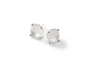 Ippolita Silver Rock Candy Mini Stud Earrings, Featuring Clear Quartz over Mother of Pearl Doublets