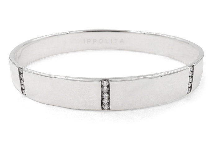 Ippolita Silver Glamazon Stardust Five Section Wide Bangle Bracelet, Featuring 25 Round Diamonds =.52cts Total Weight