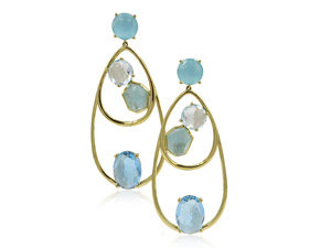 Ippolita 18K Yellow Gold Rock Candy Double Wire Multi Stone Waterfall Earrings