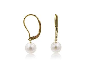 Mikimoto 18K Yellow Gold Leverback Pearl Earrings, Featuring (2) 7MM Akoya Cultured Pearls
