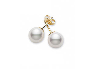 Mikimoto 18K Yellow Gold Pearl Stud Earrings, Featuring (2) 6-6.5MM A Quality Akoya Cultured Pearls