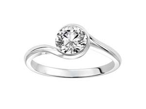 ArtCarved semi bezel swirl engagement ring, fashioned in 14k white gold. Center stone sold separately.