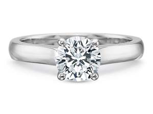 Precision Set 18K White Gold  Solitaire Engagement Ring.  Center diamond sold seperately.