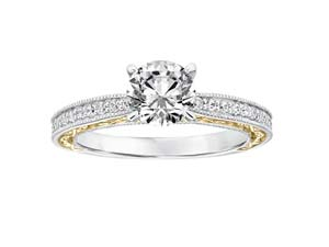 ArtCarved Filigree with Milgrain Engagement Ring, Fashioned in 14K White and Yellow Gold, Featuring Twenty-Eight Round Diamonds =.27cts Total Weight, SI2 Clarity, H/I Clarity, Center Stone Sold Separately