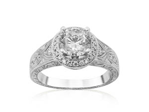 Alson Signature Collection Engraved Milgrain Engagement Ring, Fashioned in 14K White Gold, Featuring Thirty-Two Round Diamonds =.30cts Total Weight, Center Stone Sold Separately