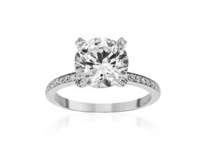 Bez Ambar Paloma Pave Diamond Engagement Ring, Fashioned in 18K White Gold, Featuring Sixty-Four Round Diamonds =.34cts Total Weight, Diamonds Half Way Down the Shank, Full Diamond Head with Diamond Tips, Center Stone Sold Separately