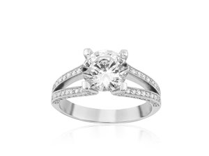 Bez Ambar 18K White Gold Split Shank Diamond Engagement Ring with 92 Round Pave set Diamonds, .38ct.  Center Diamond Sold Separately.