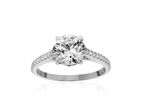 Bez Ambar 18K White Gold Diamond Engagement Ring with 24 Blaze Cut Diamonds, .25ct.  Center Diamond Sold Separately.