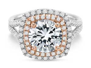 Precision Set 18K White and Rose Gold Diamond Double Halo Engagement Ring